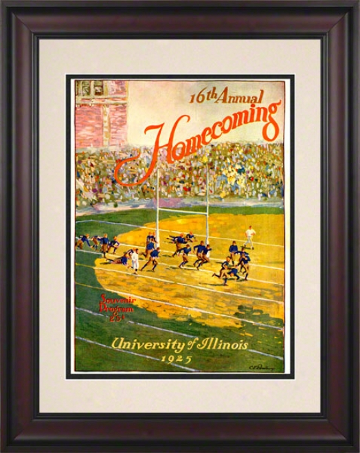 1925 Iplinois Vs. Michigan 10.5x14 Framed Historic Football Print