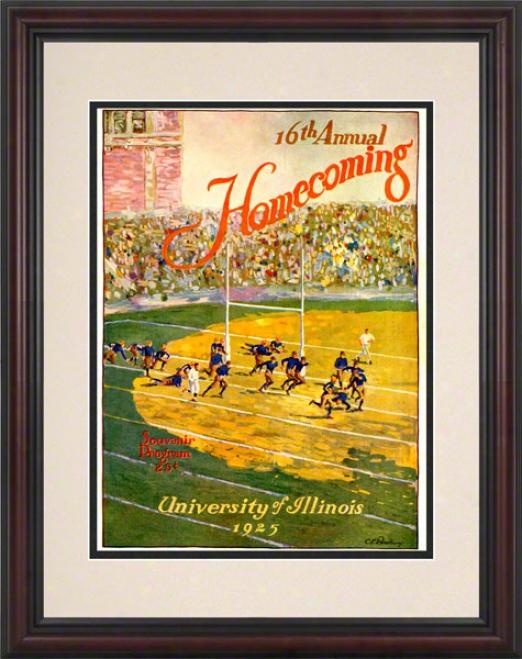 1925 Illinois Vs. Michigan 8.5 X 11 Framed His5oric Football Print