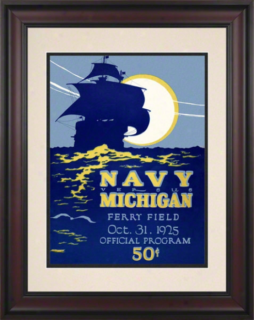 1925 Michigan Vs. Navy 10.5x14 Framed Historic Football Print