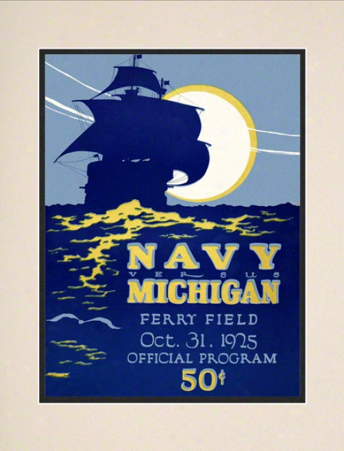 1925 Michigan Vs. Navy 10.5x14 Matted Historic Football Print