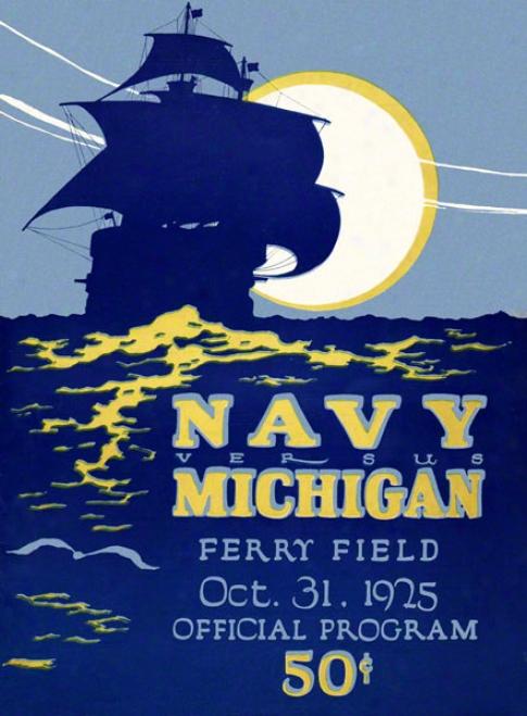 1925 Michigan Vs. Navy 22 X 30 Canvas Historic Football Print