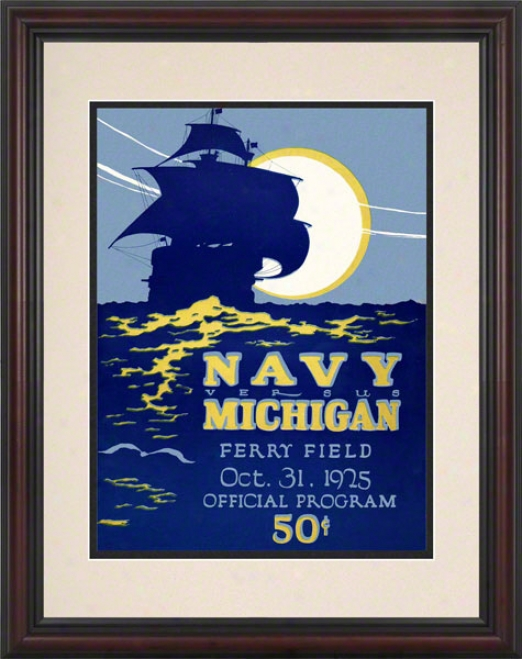 1925 Michigan Vs. Navy 8.5 X 11 Framed Historic Football Print