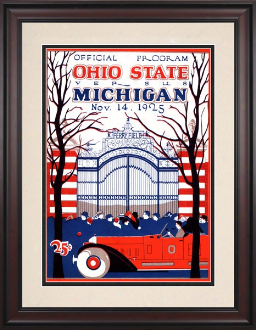 1925 Michigan Wolverines Vs. Ohio State Buckeyes 10.5x14 Framed Historic Football Print