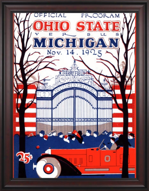 1925 Michigan Wolverines Vs. Ohio State Buckeyes 36 X 48 Framed Cavas Historic Football Print