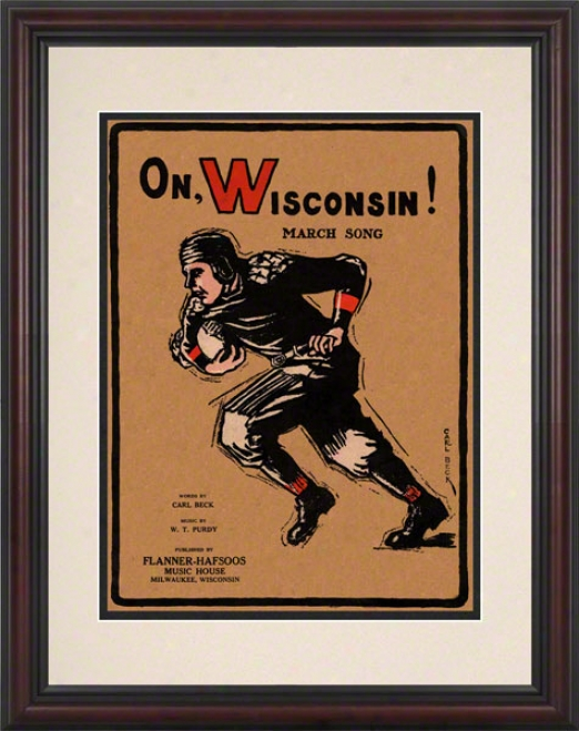 1925 On Wisconsin! 8.5 X 11 Framed Historic Football Newspaper