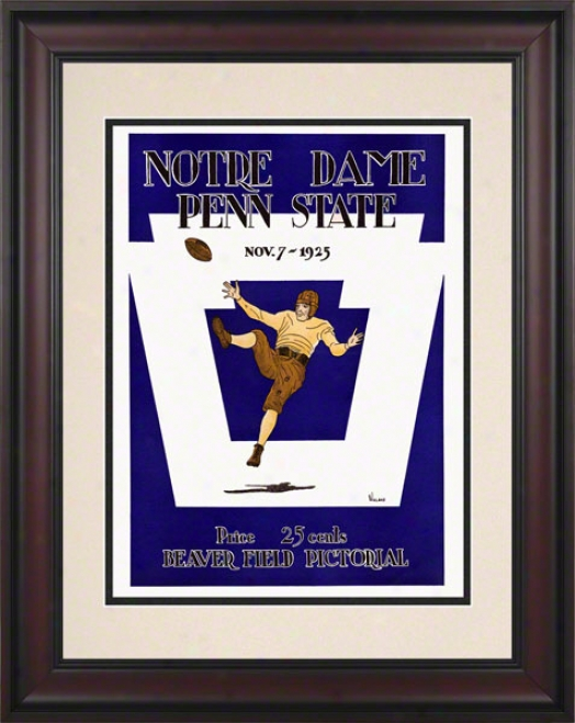 1925 Penn State Nittany Lions Vs Notre Dame Fighting Irish 10 1/2 X 14 Framed Historic Football Poster
