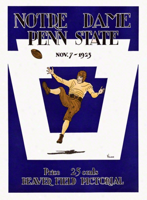 1925 Penn State Nittany Lions Vs Notre Dame Fighting Irish 22 X 30 Canvsa Historic Football Poster