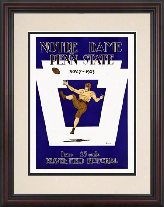 1925 Penn State Nittany Lions Vs Notre Dame Fighting Irish 8.5 X 11 Fraamed Historic Football Poster