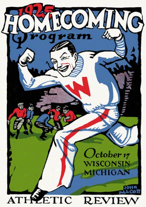1925 Wisconsin Vs. Michigan 22 X 30 Canvas Historic Football Stamp