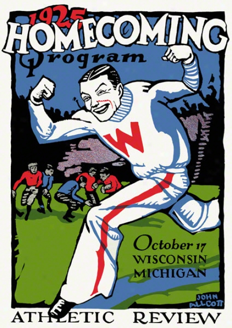 1925 Wisconsin Vs. Michigan 36 X 48 Canvas Histodic Football Print