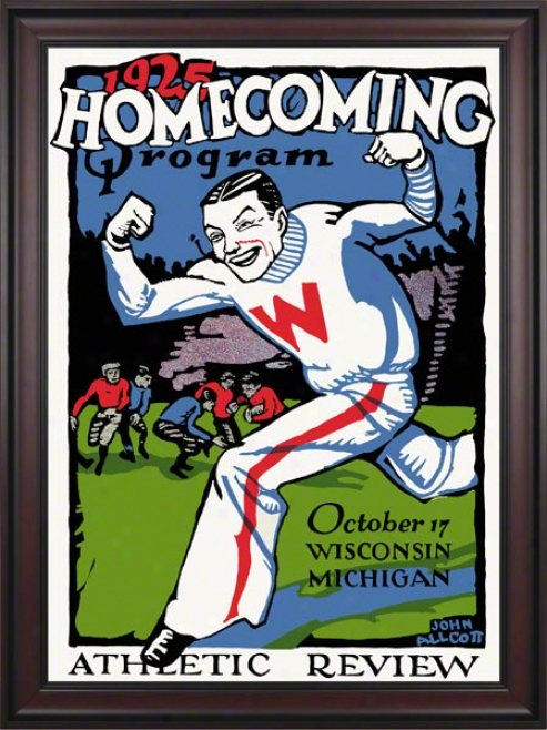 1925 Wisconsin Vs. Michigan 36 X 48 Framed Canvas Historic Football Print