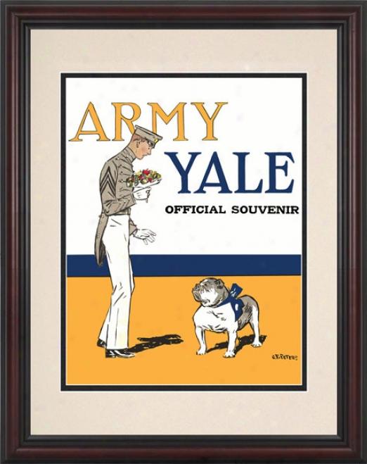 1925 Yale Bulldogs Vs. Army Black Knightw 8.5 X 11 Framed Historic Football Impress