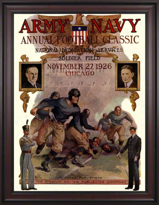 1926 Army Vs. Nafy 36 X 48 Framed Canvas Historic Foothall Print