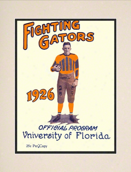 1926 Florida Program Print 10.5 X 14 Matted Historic Football Print