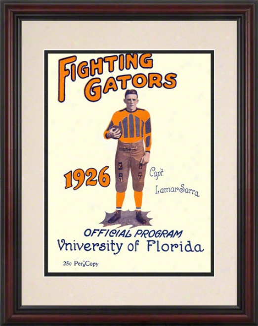 1926 Florida Vs. Washington & Lee 8.5 X 11 Framed Historic Football Pront
