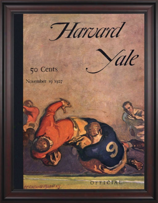 1926 Harvard Crimson Vs. Yale Bulldogs 36 X 48 Framed Canvas Historic Football Print