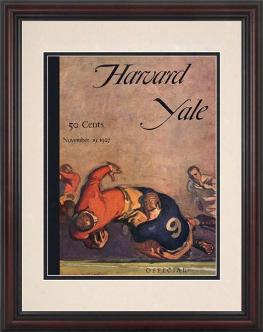 1926 Harvard Crimson Vs. Yale Bulldogs 8.5 X 11 Framed Hietoric Football Print