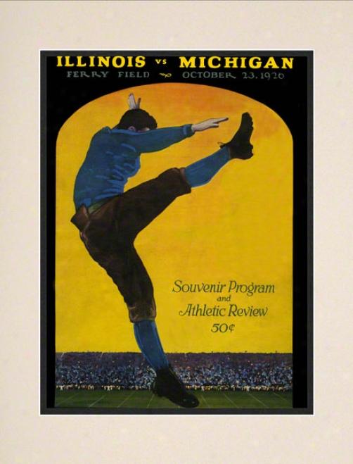 1926 Michigan Vs. Illinois 10.5x14 Matted Historic Football Print