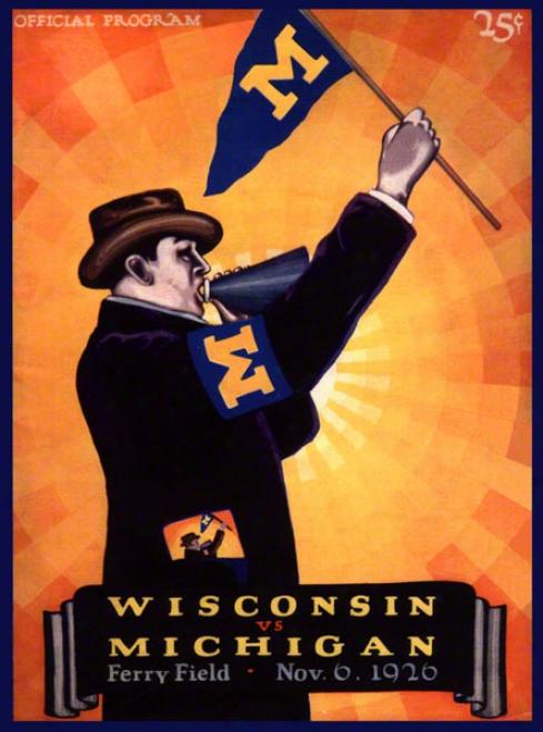 1926 Michigan Vs. Wisconsin 36 X 48 Canvas Historic Football Priint