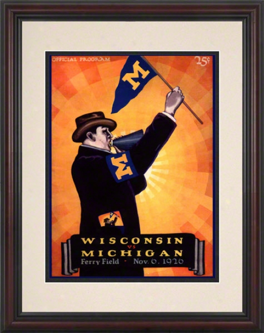 1926 Michigan Vs. Wisconsin 8.5 X 11 Framed Historic Football Print