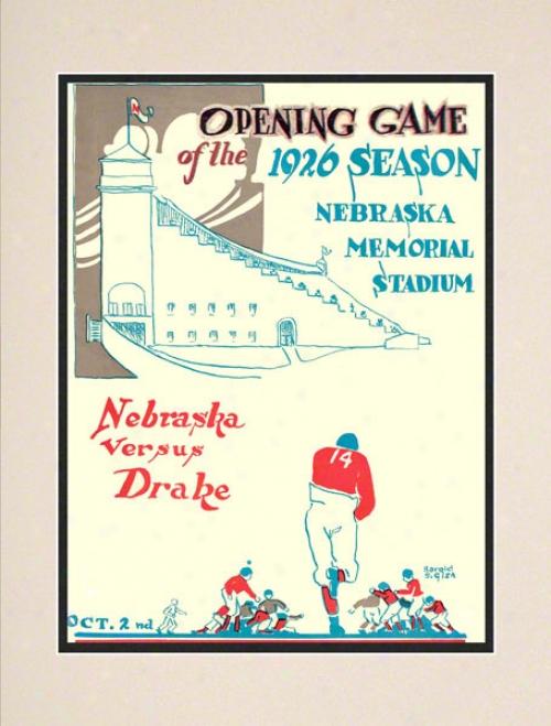 1926 Nebraska Vs. Drake 10.5x14 Matted Historic Football Print