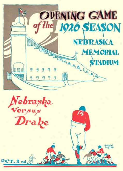 1926 Nebraska Vs. Drake 36 X 48 Canvas Historic Football Print