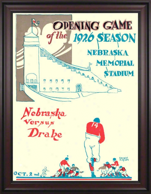1926 Nebraska Vs. Drake 36 X 48 Framed Canvas Historic Football Print