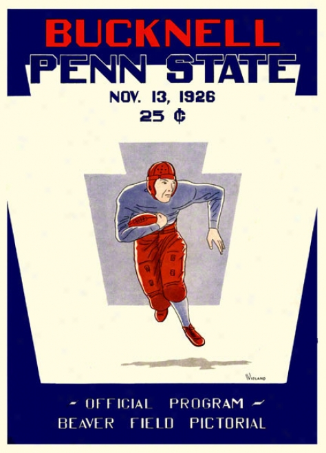1926 Penn State Nittany Lions Vs Bucknell Bison 22 X 30 Canvas Historic Football Poster