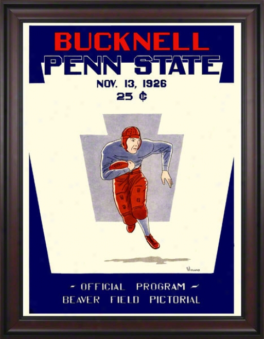1926 Penn State Nittany Lions Vs Bucknell Bison 36 X 48 Framed Canvas Historic Football Poster