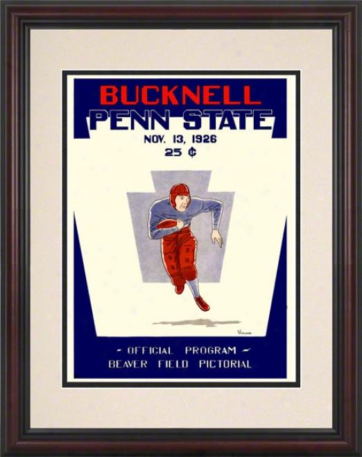1926 Penn State Nittany Lions Vs Bucknell Bison 8.5 X 11 Framed Historic Football Poster
