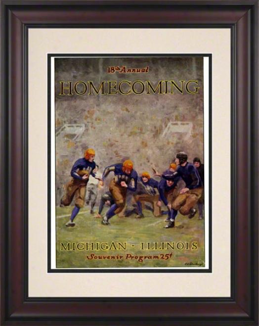 1927 Illinois Vs. Michigan 10.5x14 Framed Historic Football Print