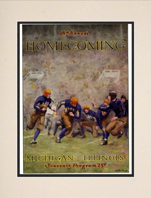 1927 Illinois Vs. Micnigan 10.5x14 Matted Historic Football Print