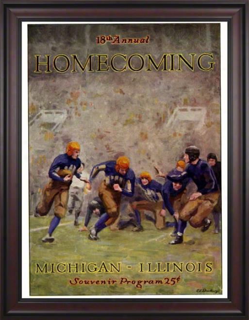 1927 Illinois Vs. Michigan 36 X 48 Framed Canvas Historic Football Impression