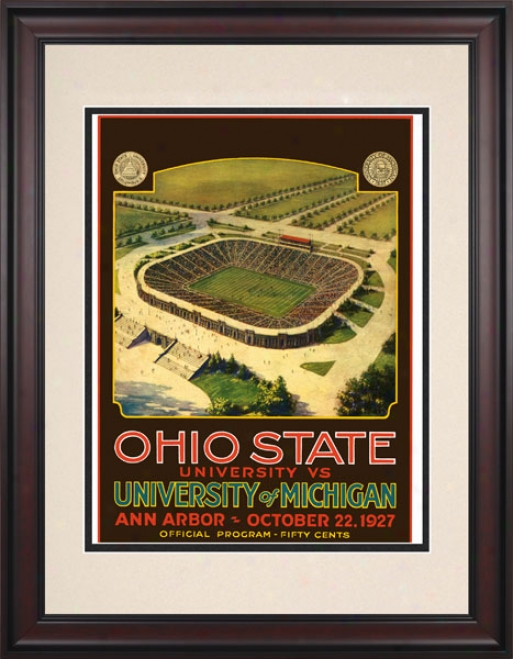 1927 Michigan Wolverines Vs. Ohio Stat Buckeyes 10.5x14 Framed Historic Football Print