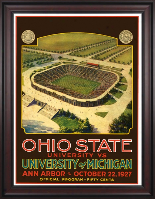 1927 Michigan Wolverines Vs. Ohio State Buckeyes 36 X 48 Framed Canvas Historic Football Print