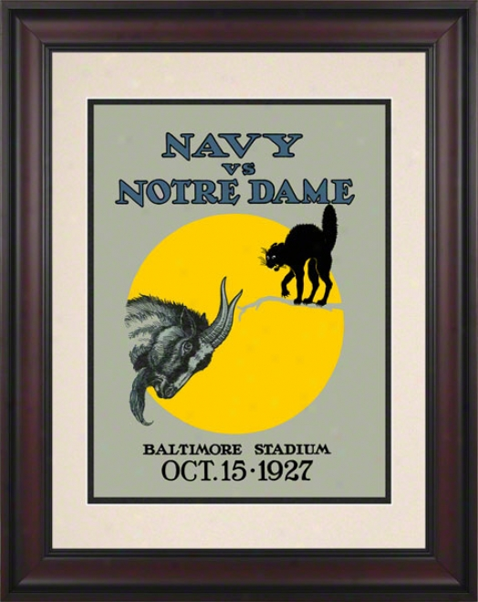 1927 Notre Dame Fighting Irish Vs Navy Midshipmen 10 1/2 X 14 Framed Historic Footbaall Poster