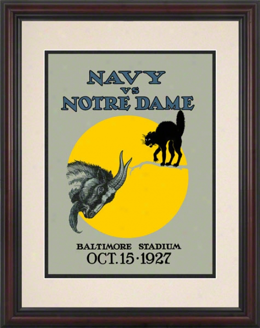 1927 Notre Dame Fighting Irish Vs Navy Midshipmen 8.5 X 11 Framed Historic Football Poster