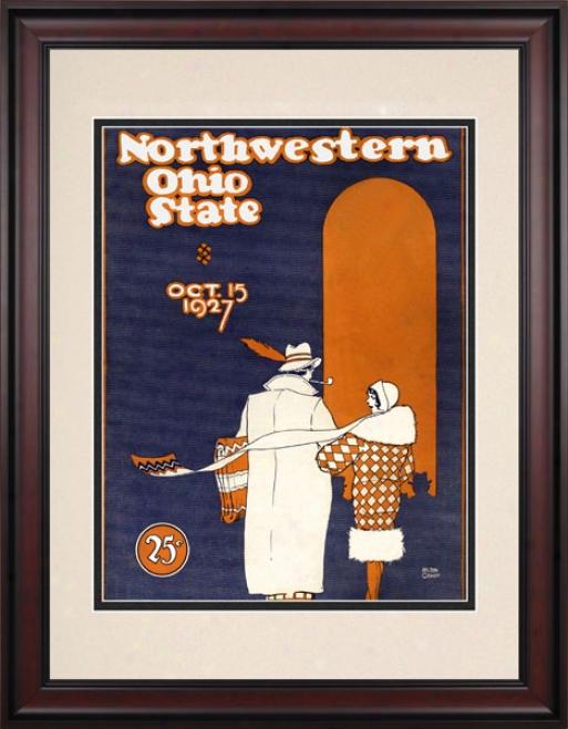 1927 Ohio State Buckeyes Vs. No5thwestern Wildcats 10.5x14 Framed Historic Football Print
