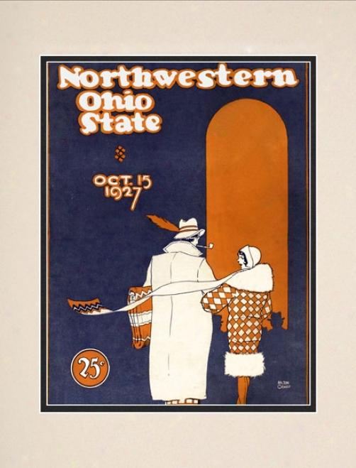 1927 Ohio State Buckeyes Vs. Northwestern Wildcats 10.5x14 Matted Historic Football Print