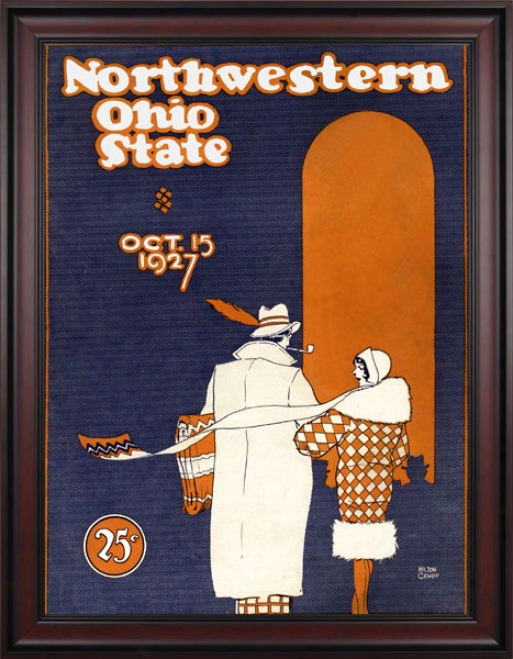 1927 Ohio State Buckeyes Vs. Northwestern Wildcats 36 X 48 Framed Canvas Hustoric Football Print