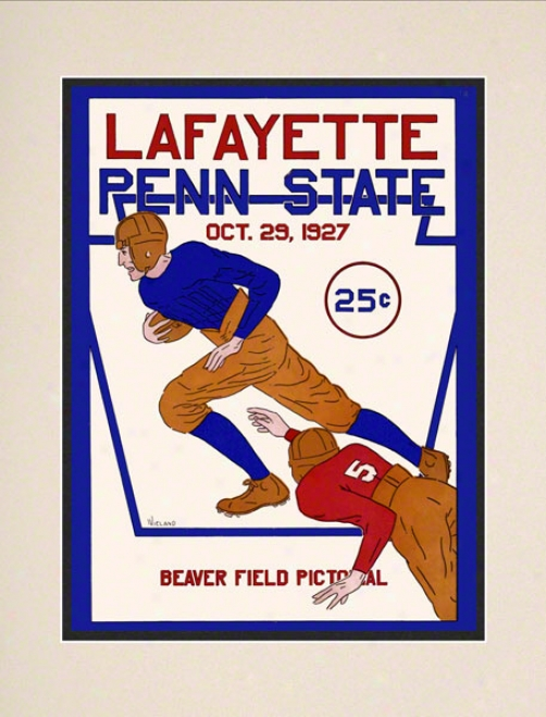 1927 Penn State Nittany Lions Vs Lafayette Leopards 10 1/2 X 14 Matted Historic Football Poster