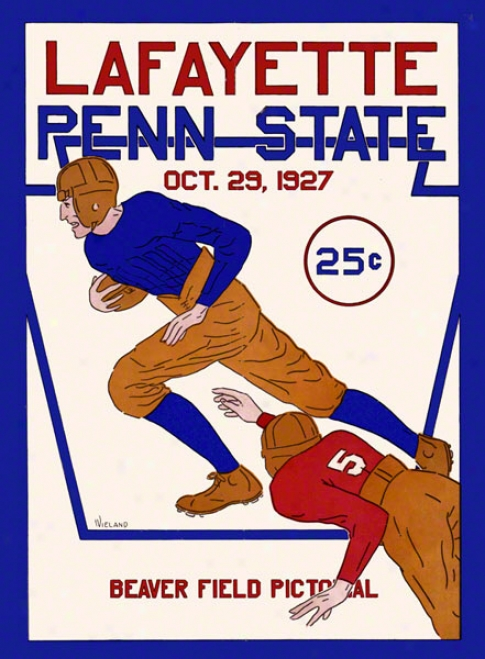 1927 Penn State Nittany Lions Vs Lafayette Leopards 36 X 48 Canvas Historic Football Poster