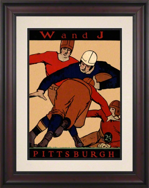 1927 Pitt Vs. Washington & Jefferson 10.5x14 Framed Historic Football Print