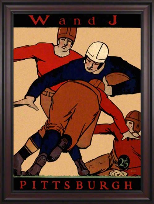1927 Pitt Vs. Washington & Jefferson 36 X 48 Framed Canvas Historic Football Calico