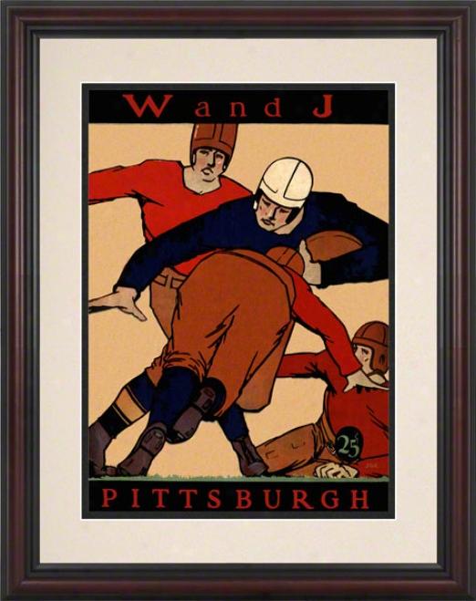 1927 Pitt Vs. Washington & Jefferson 8.5 X 11 Framed Histotic Football Print