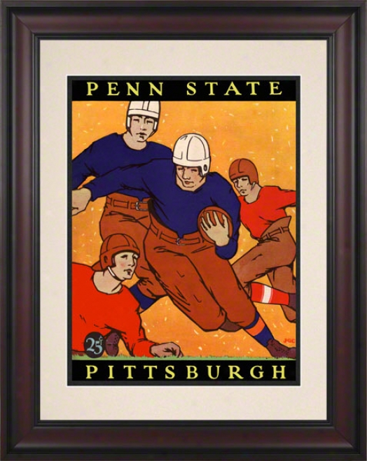 1927 Pittsburgh Panthers Vs Penn State Nittany Lions 10 1/2 X 14 Framed Historic Football Poster