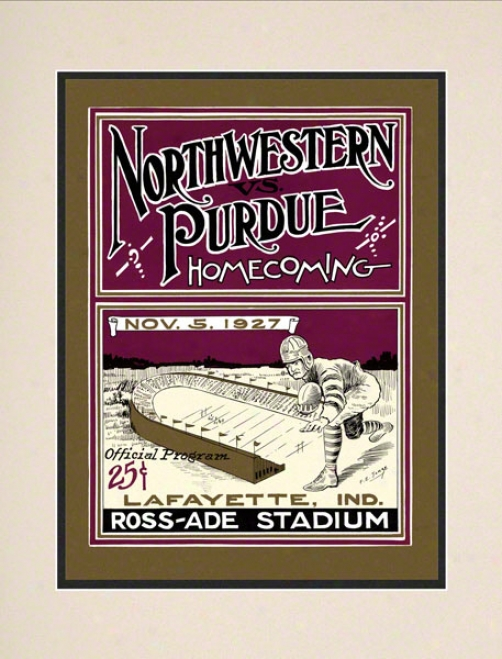 1927 Purdue Vs. Nortuwestern 10.5x14 Matted Historic Football Print