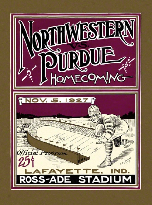 1927 Purdue Vs. Northwestern 36 X 48 Canvas Historic Football Print
