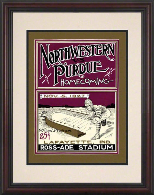 1927 Purdue Vs. Northwestern 8.5 X 11 Framed Historic Football Print