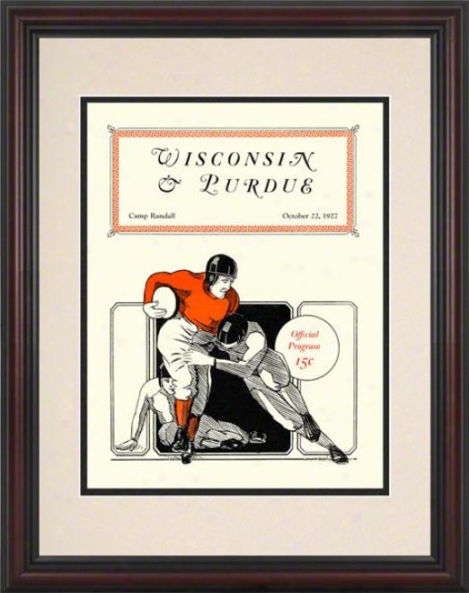 1927 Wisconsin Vs. Purdue 8.5 X 11 Framed Historic Football Print